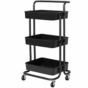 3 tier Rolling Carts With Wheels Storage Cart Makeup Cart With Roller Wheels