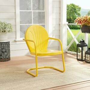 Accent Chair Retro Outdoor Patio Channel Back Yellow All Metal Uv Resistant