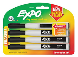 Expo 1944745 Magnetic Dry Erase Markers With Eraser Fine Tip Black 4 count