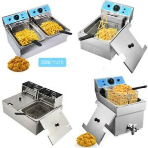 Commercial Electric Deep Fryer French Fry Bar Restaurant Tank W Basket Size Opt