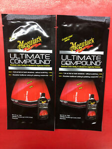 2 New 0 5 Oz Trial Packs Of Meguiars G172001t Ultimate Compound Cuts Fast