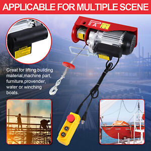 600kg Electric Hoist Winch Lifting Engine Crane Lift Hook Hanging Cable Pulley