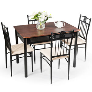 5 Piece Dining Set Wood Metal Table And 4 Chairs Kitchen Breakfast Furniture New