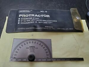 General Tools No 19 Protractor Stainless Steel U s a Good Used