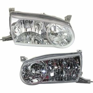 Headlight Set For 2001 2002 Toyota Corolla Sedan Left And Right With Bulb 2pc