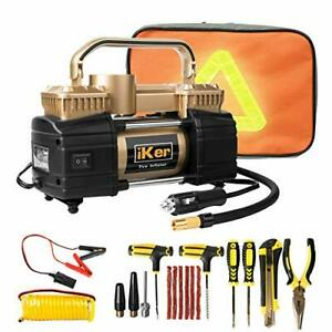 Iker Portable Air Compressor Heavy Duty Tire Inflator For Car Truck Suv12v 70