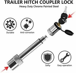 Trailer Receiver Hitch Lock Heavy Duty Chrome 5 8 Lock Pin For 2 Receiver