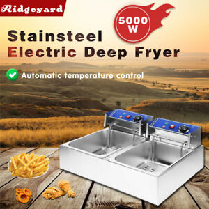 5000w Electric Deep Fryer Dual Tank Stainless Steel 2 Fry Basket Commercial New