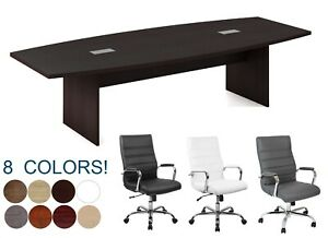 10 Ft Foot Conference Table With Grommets And 8 High Back Chairs Set Many Colors
