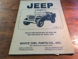 Jeep Parts Willys Mb Ford Gpw White Owl Parts List
