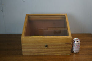 Vtg Countertop Tabletop Glass Wood Wooden Display Case 16 X 14 3 4 X 11