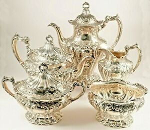 Chantilly Old Gorham 5pc Sterling Silver Hand Chased Tea Coffee Set Grand