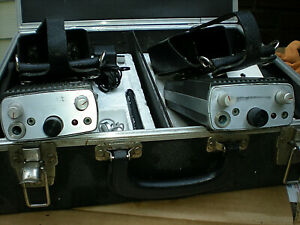 Pair Vintage Ef Johnson Police Business Band Radios Leather Cases 173 Mhz