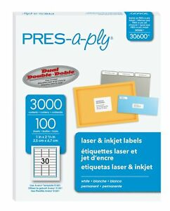 Pres a ply Laser Address Labels 1 X 2 5 8 White 3000 box 1 X 2 5 8 Inches