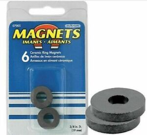 Master Magnetic 07005 Pack Of Six 6 Ceramic Magnetic Rings 3 4 Dia X 1 8 Thick
