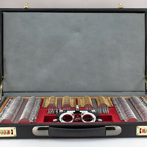 Optometrist 266 Piece Trial Lens Set Leather Case Pre owned