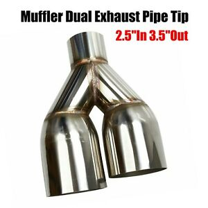 Polished Stainless Steel Muffler Dual Exhaust Pipe Tip 2 5 In 3 5 Out Staggered