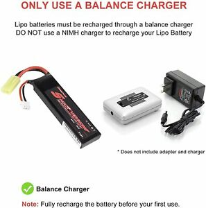 7.4V 1100mAh 25C Rechargeable LiPo Battery Airsoft with Mini Tamiya Connector US $14.71