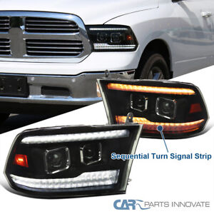 For 09 18 Ram 1500 Black Smoke Switchback Led Sequential Projector Headlights