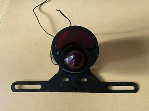 Vintage Duolamp Red Glass Tail Light 12 Volts W Bracket Cafe Racer Hot Rod