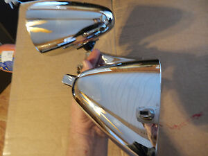 Nos Vintage Classic Chrome Dual Twin Sport Bullet Shape Hot Rod Side Mirrors