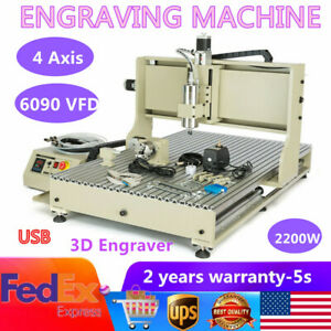 2 2kw Usb 4axis Cnc 6090 Vfd Router Engraver Metal Carving Drill Milling Machine