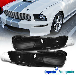 For 2005 2009 Ford Mustang Front Bumper Lights Signal Lamps Black 05 09 Pair