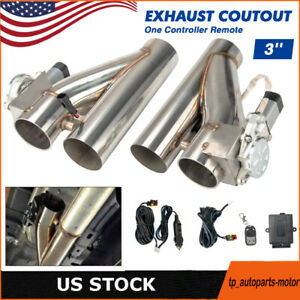 2pcs 3 Electric Exhaust Downpipe E Cut Out Valve One Controller Remote Kit