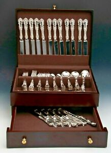 Burgundy Reed Barton Sterling 79 Piece Service For 12 W Servers Chest