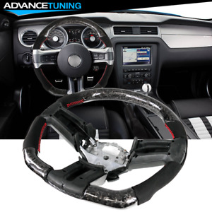 Fits 10 14 Ford Mustang Cf Alcantara Steering Wheel W Red Stitch Indicator