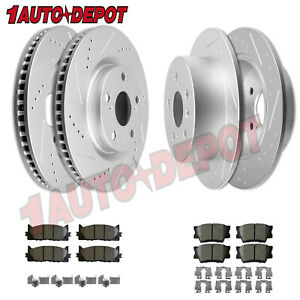 Front Rear Drilled Slotted Brake Rotors Pads For Toyota Camry Avalon Lexus Es350
