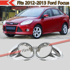 Fits 2012 2013 Ford Focus Chrome Front Bumper Fog Lights Lamps Cover Trim Pair Fits 2012 Ford Focus