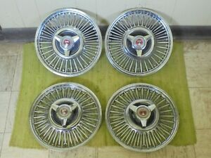 63 64 65 Ford Wire Spoke Spinner Hubcaps 13 Set 4 Wheel Covers 1963 1964 1965