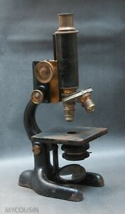 Antique Bausch Lomb Brass Microscope Pat 1915 With Original Wood Case Part