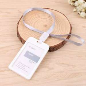 6pcs Waterproof Id Badge Card Holder Vertical Clip Neck Strap Lanyard Necklace
