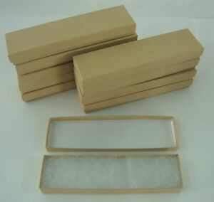 10 New 8 X 2 X 7 8 Jewelry Gift Boxes Cotton Filled Kraft Store Supplies