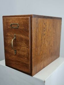 Antique Vintage Oak Wooden Dovetailed Index Card Office Filing Work Store Box