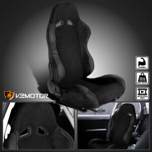 Passenger Side Right Black Suede Stitch Reclinable Sport Racing Seat W Slider
