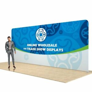 20ft Straight Fabric Tension Display Trade Show Back Wall Pop Up With Graphic