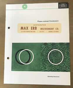 Vintage Carl Zeiss Phase Contrast Condensers Operating Instructions Manual