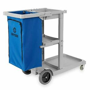 Commercial Janitorial Cleaning Cart On Wheels Housekeeping Caddy With Shelves