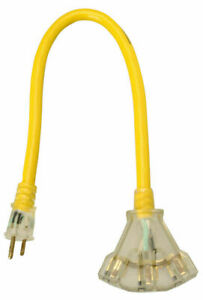 Coleman Cable 2882 Yellow Jacket 2 Ft 12 3 Three Outlet Lighted Power Block