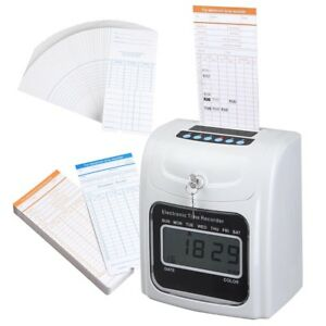 Used W Employee Attendance Punch Time Clock Payroll Recorder W 100 Cards