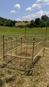 1899 Antique Cast Iron Child Baby Crib Bed Day Bed Brass Finials Local Pickup