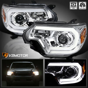 For 2012 2015 Toyota Tacoma Clear Led Strip Bar Projector Headlights Lamps L R