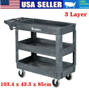 3 Tier 500lbs Utility Tool Cart Dolly Rolling Plastic Trolley For Shop Garage