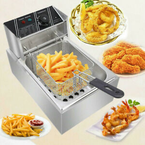 Electric Deep Fryer Single Tank Stainless Steel 6l 1700w For Home Commercial
