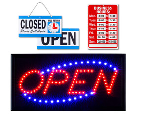 Sign Open Led Neon Business Light Bright Vertical Store Bar Flashing Large Shop
