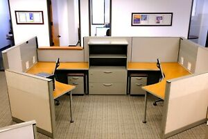 24 86x54 Steelcase Cubicles And 2 drawer Mobile File Cabinet With Padded Seat