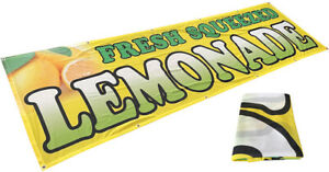 3x10 Ft Fresh Squeezed Lemonade Banner Sign Polyester Fabric
